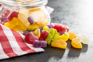 Colorful fruity jelly candies.