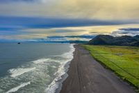 Beach with black sand on Kamchatka