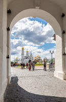View of the Moscow Kremlin cathedrals through the gate arch of the Spasskaya tower