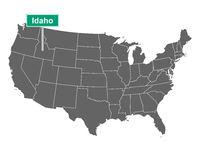 Idaho Ortsschild und Karte der USA - Idaho state limit sign and map of USA