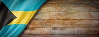 Bahamian flag on vintage wood wall banner