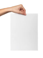 female hand hold white paper