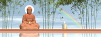 Peaceful buddha meditating - 3D render