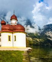 Church St Bartholomew on the shore of lake Königssee