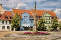 Delitzsch, Germany - June 19, 2019 - square with post mile column