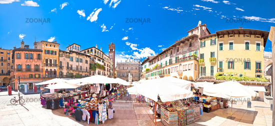 Piazza delle erbe in Verona street and market panoramic view