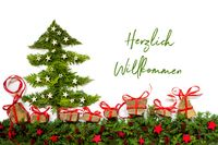 Christmas Tree, Fir Branch, Gifts, Red And Silver Stars, Willkommen Mean Welcome
