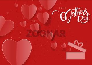 Rote Grußkarte des glücklichen Muttertags mit Papierherzen