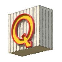 Vintage concrete red yellow font Letter Q 3D