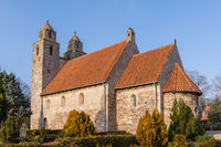 Medieval stone churh with two towers,  Tveje Merlose, Denmark