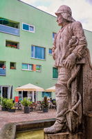 Schönebeck, Germany - June 20, 2020 - statue of a fisherman at the market fountain