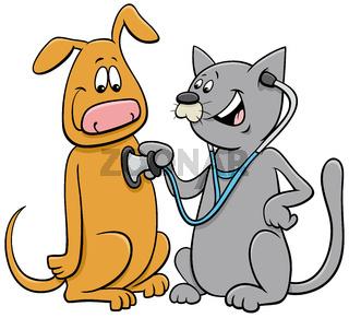 cat examining the dog with stethoscope cartoon
