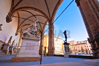 Piazza della Signoria in Florence square landmarks and statues view