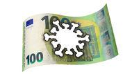 100 Euro banknote with burned-in Coronavirus