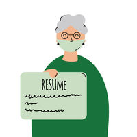 Elderly woman with resume and medical mask. Employment problem. End Ageism concept