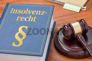 A law book with a gavel -  German Translation of Bankruptcy law - Insolvenzrecht
