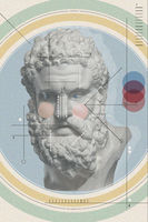 Art collage with antique sculpture of Heracles face and numbers, geometric shapes. Beauty, fashion and health theme. Science, research, discovery, technology concept. Zine culture. Pop art style.