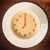 clock on coffee