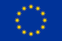 European Union flag illustration with coronavirus signs instead of stars.
