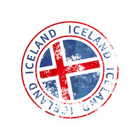 Iceland sign, vintage grunge imprint with flag on white