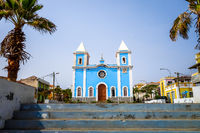 Blue church in Sao Filipe, Fogo Island, Cape Verde