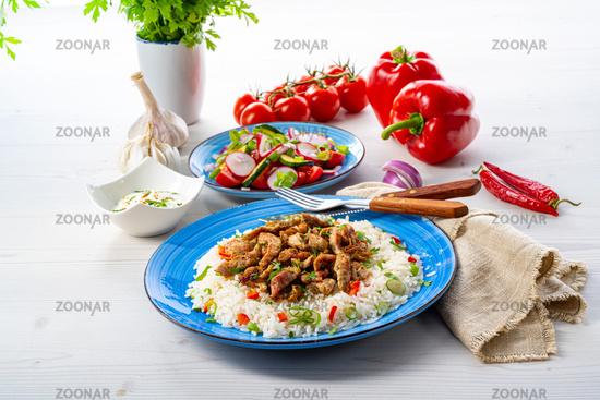 gyros with rice and green salad and zaziki