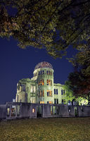 The skeletal ruins of Atomic Bomb Dome at the night. Hiroshima. Japan