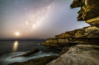 Starry sky from Sydney cliffs