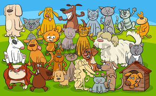 cartoon dogs and cats comic characters group
