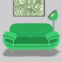 Illstration of a green sofa