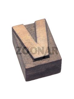 wooden letterpress V block