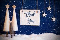 Christmas Tree, Blue Background, Snow, Text Thank You, Snowflakes