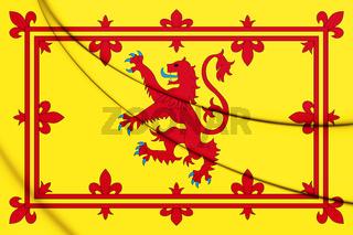 3D Royal Standard of Scotland. 3D Illustration.
