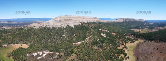 Aerial view of mountainous landscape in Santo Domingo de Silos, Burgos, Castilla y Leon, Spain.
