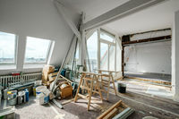 Loft room during renovation,  apartment refurbishment