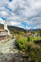 The picturesque village Ramsau in Berchtsgaden, view of the church at Ramsau, Germany