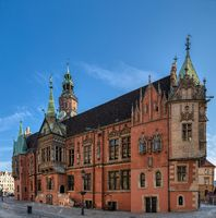 Town hall on Market square in Wroclaw Old Town.