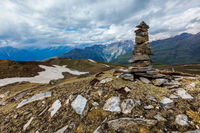 Stone cairn in Himalayas