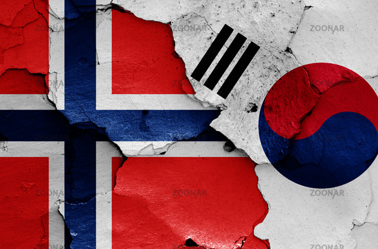 flags of Norway and South Korea painted on cracked wall