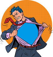 Superhero businessman tearing the suit