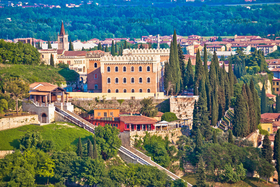 Verona. Castel San Pietro on picturesque green hill in historic city of Verona view,