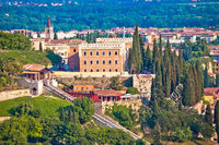 Verona. Castel San Pietro on picturesque green hill in historic city of Verona view,