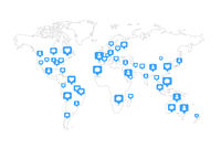 Global world map with lots social likes and comments blue icons on white