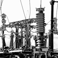 High voltage electric power. Structure power station in high contrast