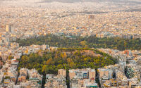 Sunset Over the Rooftops and Green Parks of Athens