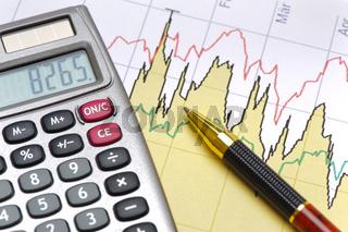 Chart und Aktienkurs mit Taschenrechner