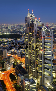 Night-time panoramic view of Park Hyatt Tokyo building from the Tokyo Metropolitan Government Building.
