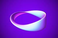 3D blue Moebius strip isolated on white background.