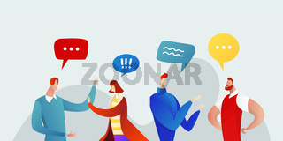 Business People Group Chat Communication Bubble Concept, Businesspeople Talking Discussing Communication Social Network Flat Vector Illustration.