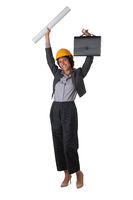 Architect in hardhat with arms raised